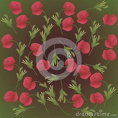 Green background with poppy flowers