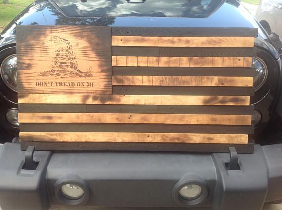 Gadsden Don't Tread On Me Wooden American Flag  Reclaimed
