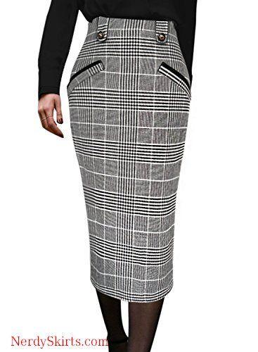 05764974f VFSHOW Womens Vintage High Waist Work Office Business Pencil Midi Skirt