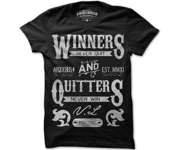 Winners Never Quit T-Shirt black