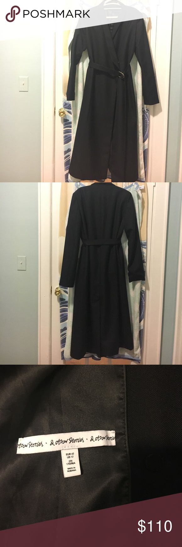 & other stories blended wool kimono coat (black) Black Kimono Collar Belted Coat from & other stories. Bought it last Christmas. Have only wore twice. Almost new condition. Not to thick, knee length. Perfect for spring weather. & other Stories Jackets & Coats Trench Coats