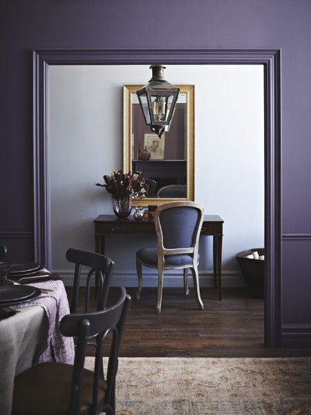 Purple Rooms | House & Home - if drenching a room in bold hues is a big departure from the rest of the room's decor, ease into the aesthetic by peppering the adjacent hallway with hints of lies beyond.  I LOVE THIS COLOR!