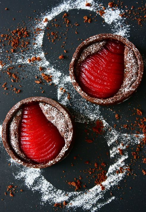 Chocolate Tarts with Raspberry Poached Pears