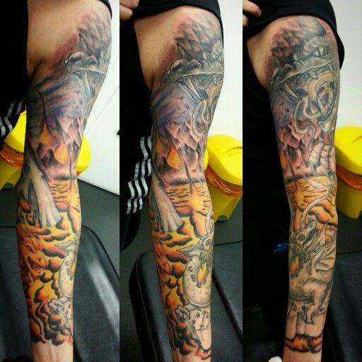 A lava dragon sleeve..