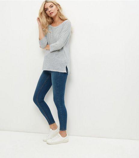 Cream Stripe Batwing Sleeve Step Hem T-Shirt    New Look