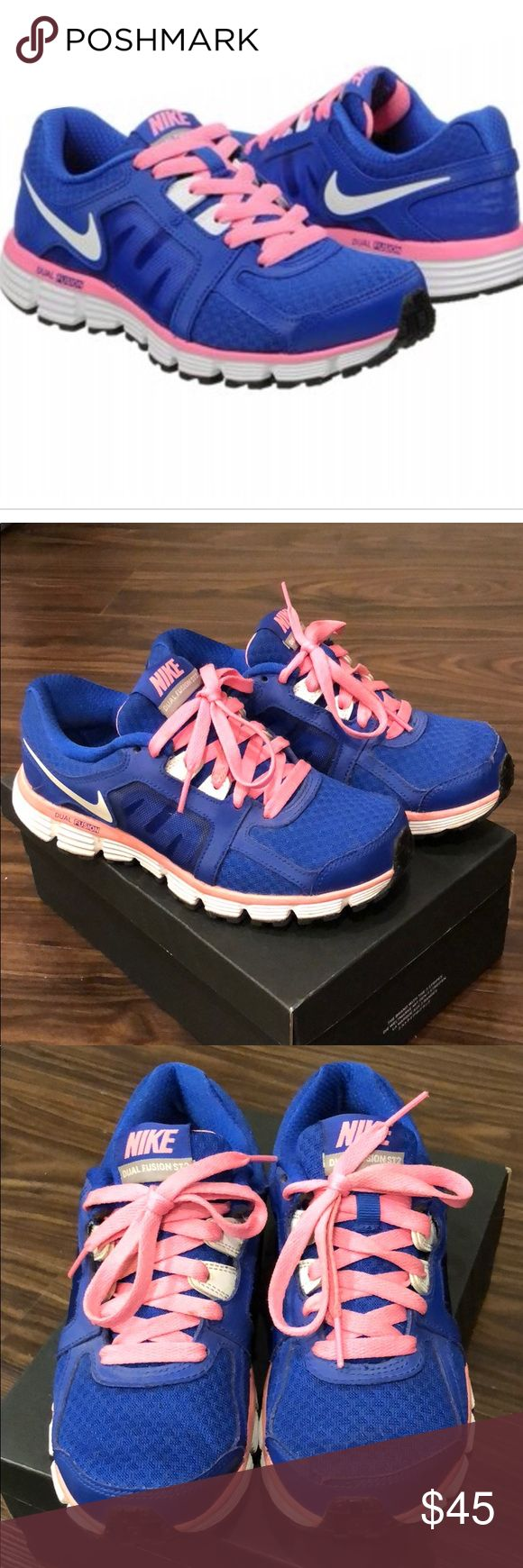 Nike Dual fusion Nike Dual fusion pink and blue sneakers. Really comfortable and great support for running. Never gave me shin splints. Minor rip in trim of one toe (see picture) but barely noticeable. Gently worn. Offers welcome! Nike Shoes Sneakers