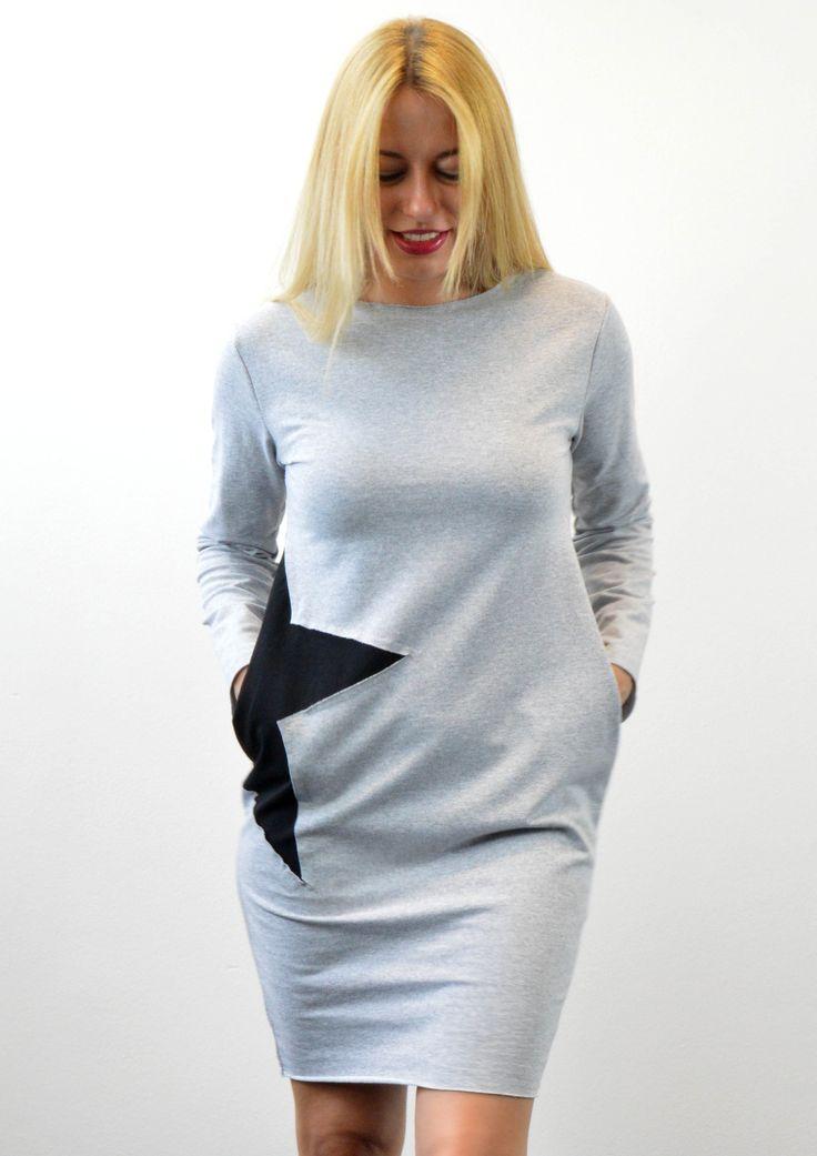 Φόρεμα Φούτερ με Τσέπες και Σχέδιο Αστέρι - ΓΚΡΙ | Shop online: www.musitsa.com