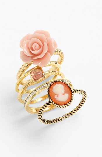Ariella Collection Floral & Cameo Stack Rings (Set of 5) (Nordstrom Exclusive) available at Nordstrom