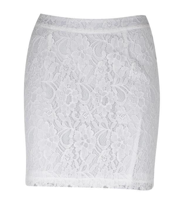 Falda recta de encaje, color blanco.
