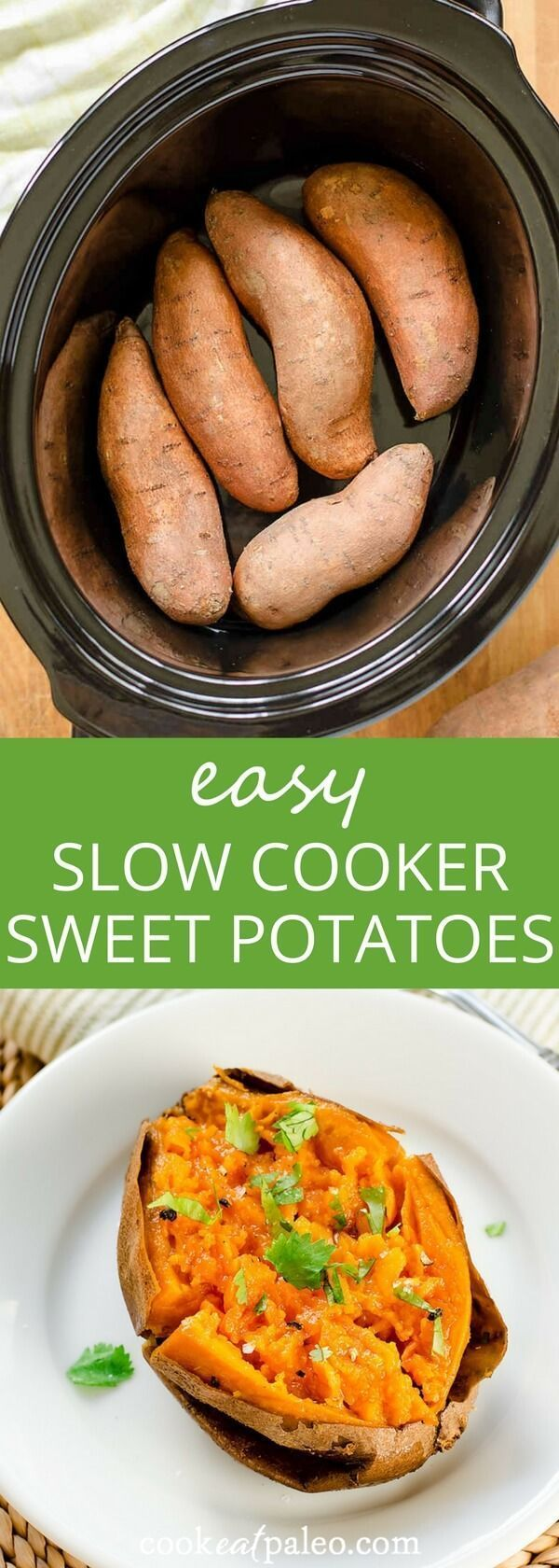 Slow cooker sweet potatoes---the easy way to cook sweet potatoes when you don't want to turn on the oven. Quick, easy, gluten-free, paleo, vegan via /cookeatpaleo/