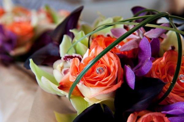 Purple and Orange Wedding  Wedding Flowers Photos on WeddingWire
