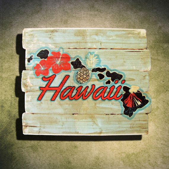 Hawaii Sign Vintage Hawaiian Islands Map by YvonneSayersHome