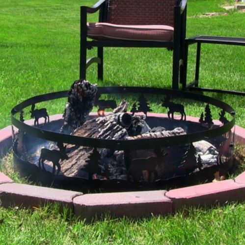 Steel Outdoor 36 Inch Wild Moose Fire Pit Ring Campfire Camping Yard Firepit New