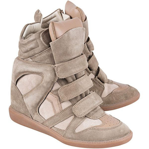 Isabel Marant Étoile Bekett Over Basket Taupe // Suede wedge sneakers (800 BGN) ❤ liked on Polyvore featuring shoes, sneakers, wedge sneakers, wedge heel sneakers, suede sneakers, retro sneakers and hidden wedge shoes