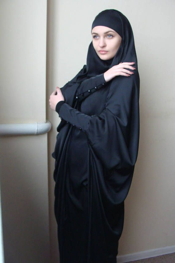 Long Silk Black Khimar Black BurqaDubai Abaya by ScarfTurbanHijab