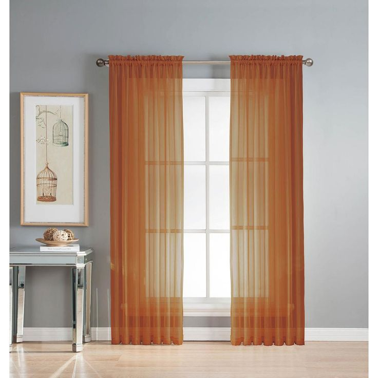 Window Elements Sheer Diamond Sheer Rust (Red) Rod Pocket Extra Wide Curtain Panel, 56 in. W x 95 in. L