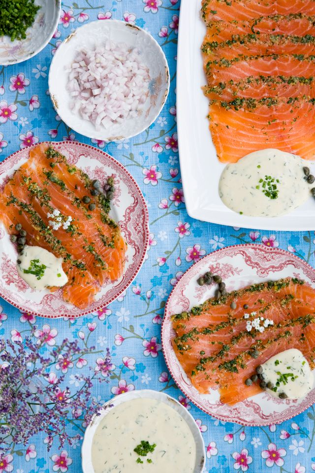 Danish #Gravad Laks (cured #salmon ) recipe. This traditional Danish dish can be enjoyed at any meal by itself, as an accompaniment or as an ingredient. It's so easy to make at home, and many Danes do. Give it a try! Recipe courtesy of Tartine and Apron Strings blog.