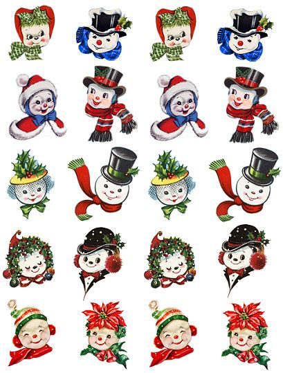 ALTERED ARTIFACTS: Vintage Like Chenille Ornaments Snow People Free Printable