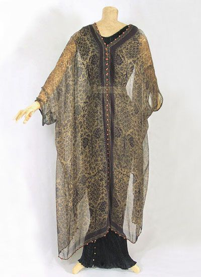 Couture clothing at Vintage Textile: #6807 Fortuny stenciled caftan
