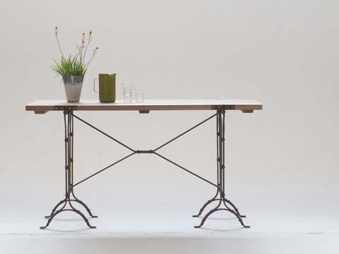 Trestle Server with Natural Timber Top and Galvanized Frame - Inside Out Home Boutique