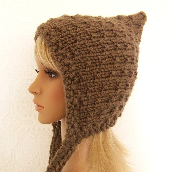 Knitting Pixie Hat Free Pattern : Pixie hat - hand knit hat - womens accessories - your color choice - han...