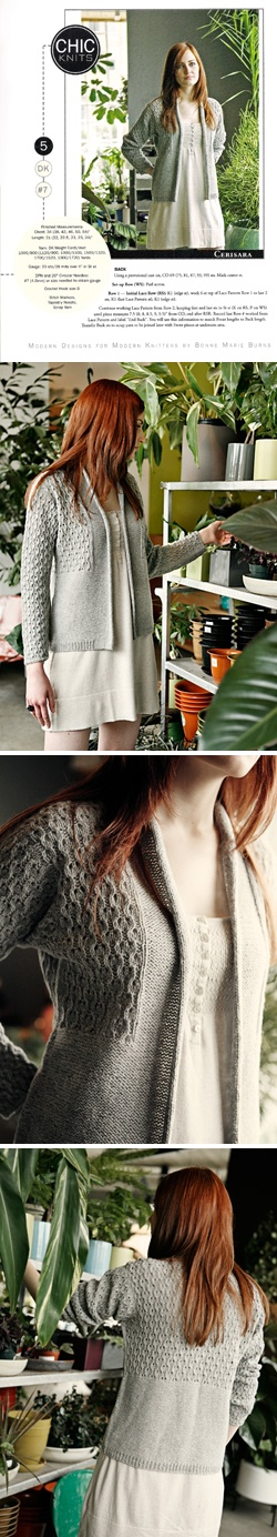 Cerisara by Bonne Marie Burns of CHIC KNITS. Find knitting pattern at All About Yarn in Tigard, Oregon for only $6.50.
