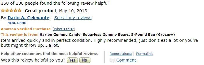Beware Of The 5 lb. Bag Of Sugarless Gummy Bears On Amazon.com – The Reviews Are Priceless!