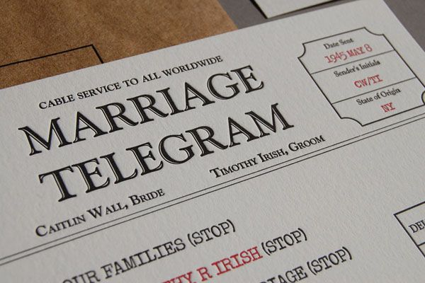 Marriage Telegram - Pistachio Press
