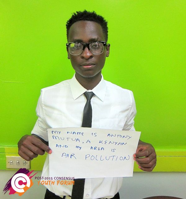 Anthony, a Kenyan wants smart targets for Air Pollution to be prioritized into the sustainable development goals.