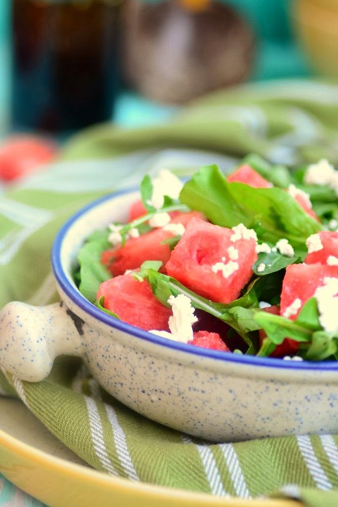 Arugula, Watermelon and Feta salad with balsamic vinaigrette