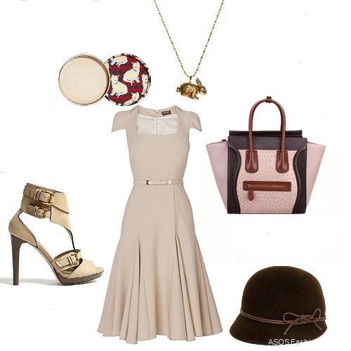 Elegant apricot summer dress with celine edge bag | Tote Bags ...