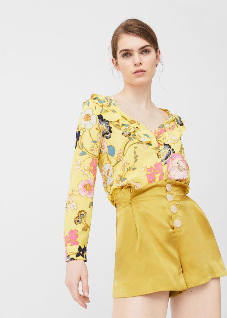 Ruffle printed blouse | MANGO
