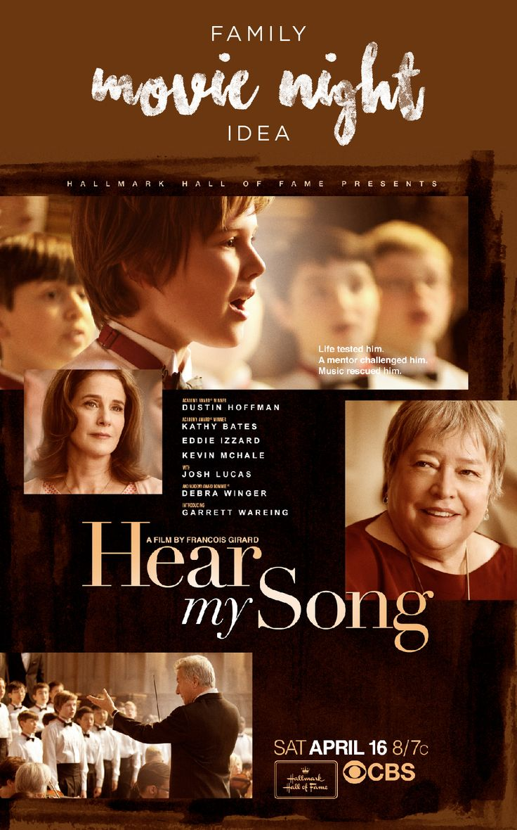 An all–star cast featuring Oscar winners Dustin Hoffman (Kramer vs. Kramer, Rain Man) and Kathy Bates (Misery, American Horror Story) star in Hear My Song, a Hallmark Hall of Fame movie premiering on CBS Saturday, April 16 at 8pm ET/PT.  Stet, a young boy who has had a difficult childhood finds his unique voice after arriving at a boarding school that's home to the country's leading boys choir.