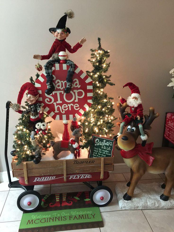 Santa Stops Here! Raz Elf, Radio Flyer Wagon , Happy Deer ,Christmas