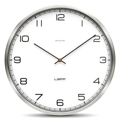 Leff Amsterdam Stainless Steel Wall Clock With White Arabic Dial Featured On Rypen