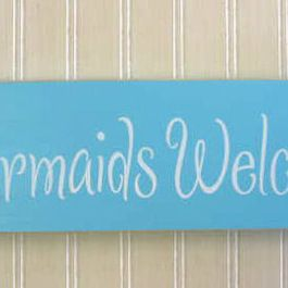 Mermaid Sign Mermaids Welcome   Tropical   Kids Decor   Home By The Seashore