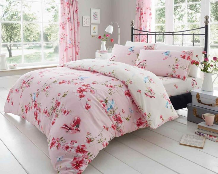 Birdie Blossom Pink Duvet Quilt Cover Bedding Set – Linen and Bedding