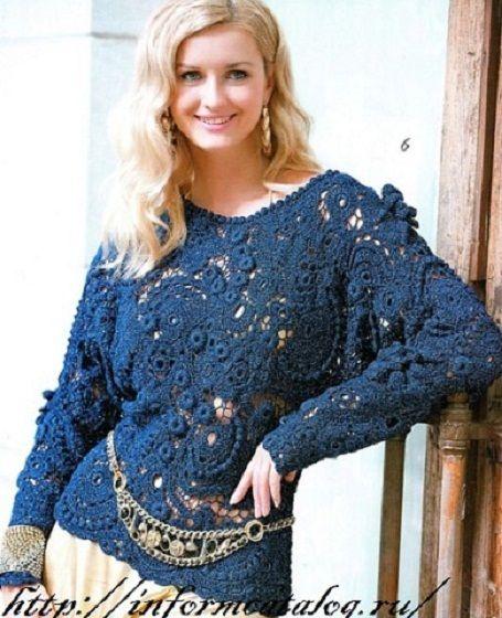 Пуловер Вязаный в Технике Ирландского Кружева   Ниточка