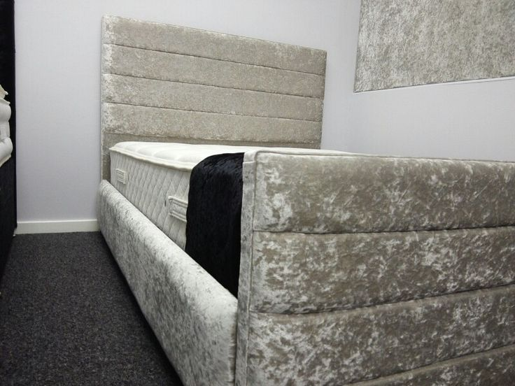 Zaal Crushed Velvet Bed with high headboard and foot board