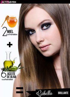 6 cucharadas de aceite de oliva + 2 cucharadas de miel= Mascarilla para revitalizar el cabello