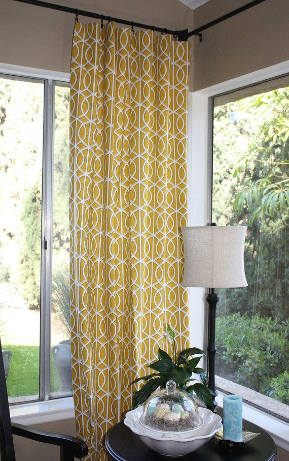 Set of Two 50x84 inch Draperies by thislittlehome (etsy).  She has gray and navy as well as the yellow.  I have a sage green couch. Thoughts?