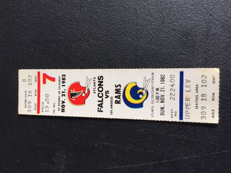 Nov. 21, 1982 ATLANTA FALCONS  vs  LOS ANGELES RAMS Ticket Stub