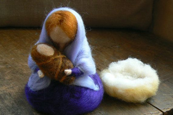 Holy Family,Nativity Scene, Baby Jesus, Mary and Joseph,Needle Felted-Waldorf-Nature Table-Seasonal