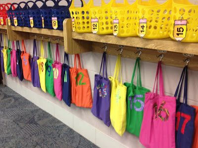 These numbered bags are used to place different student materials in that you might need in the middle of a lesson. Instead of having to pass out each of the supplies, you can have what each student needs in their bag at all times. They just grab their bag and come to the carpet or to their desk. It makes things so easy!