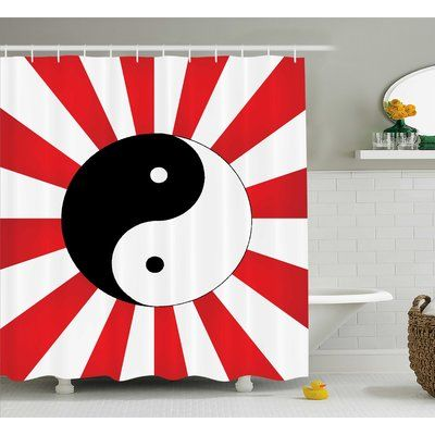 "East Urban Home Red Ying Yang Pop Art Asian Shower Curtain Size: 69"" W x 70"" L"