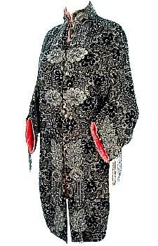 c. 1880's Victorian Black Beaded Dolman Mantle Lined in Red Satin