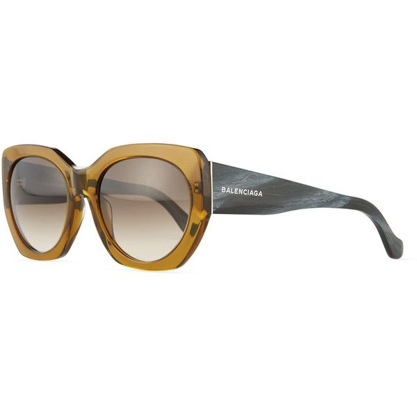 Balenciaga Square Two-Tone Acetate Sunglasses (€250) ❤ liked on Polyvore featuring accessories, eyewear, sunglasses, green, round frame glasses, round sunglasses, balenciaga sunglasses, round acetate sunglasses and uv protection glasses