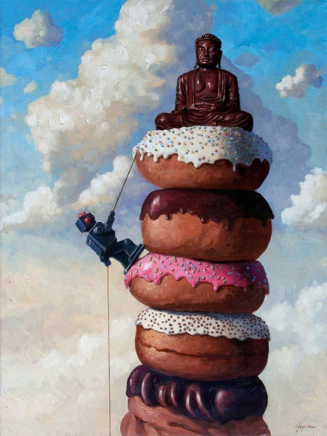 'Sweet Buddha' by Eric Joyner. Find out more about Eric and see more of his fantastic art in his interview at wowxwow.com. (donuts, doughnuts, emotion, human condition, humor, humour, nature, wildlife, painting, robots, sci-fi, science fiction, narrative, story, symbolism, new contemporary art)
