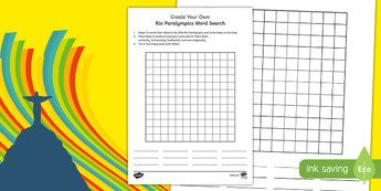 Australia Rio Paralympics 2016 Create Your Own Word Search