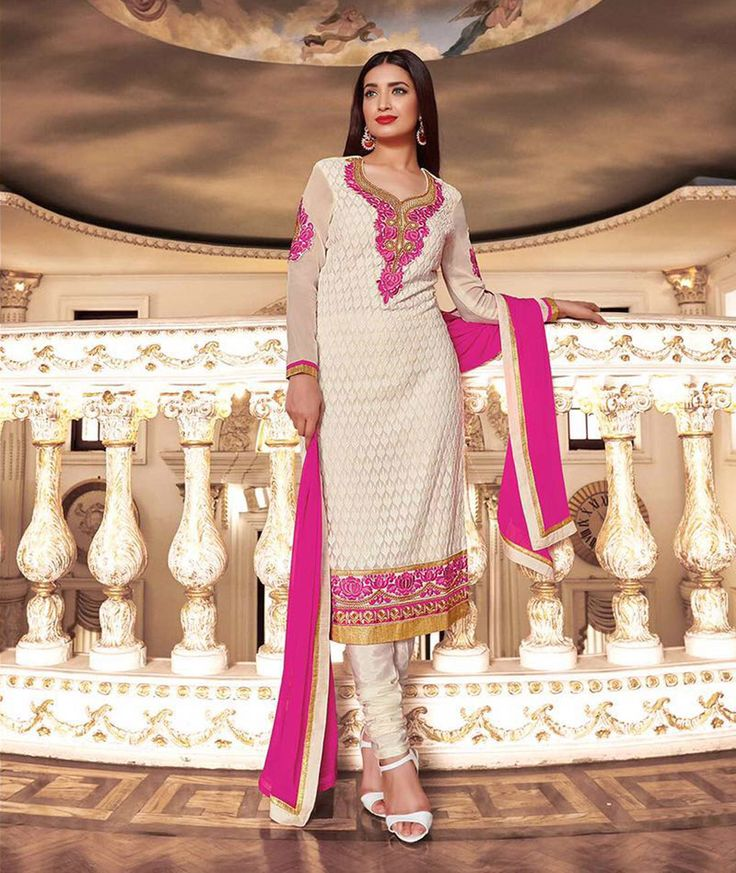 Off White Georgette Churidar Suit 68138